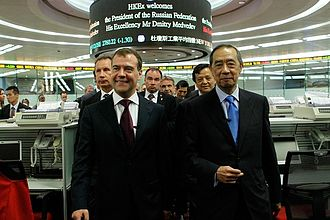 Hong Kong Stock Exchange - Russian President Dmitry Medvedev with exchange Chairman Ronald Arculli during a visit to Hong Kong on 17 April 2011.