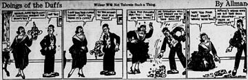An old black and white comic strip. Two characters are talking about a clown that was bought for a birthday present. One character smashes the doll because it was made in Germany.