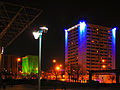 DoubleTree, Wells Fargo at night, Albuquerque.jpg