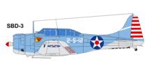 2-S-12 Von Scouting Squadron 2 an Bord der USS Lexington CV-2 am 7. und 8. Mai 1942, als sie an der Schlacht am Korallenmeer teilnahm.Lexington ging spater mitten am Tag nach dem japanischen Angriff aufgrund schwerer Brande verloren.
