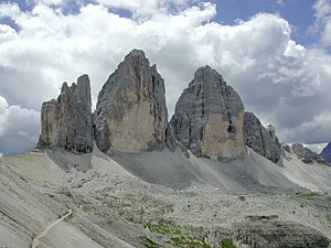 South Tyrol - Tre Cime di Lavaredo in the Sexten Dolomites bordering the province of Belluno.