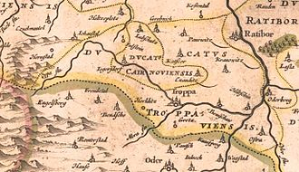 Duchy of Troppau - Duchy of Opava with Krnov, map from Atlas Novus by Joan Blaeu, 1645