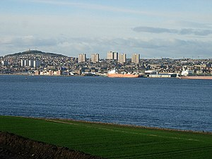 Firth - Dundee from the Fife shore of the Firth of Tay
