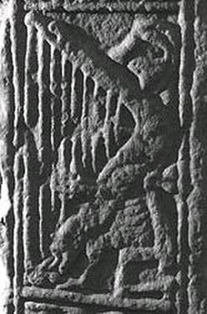 Dupplin Cross - The harper on the Dupplin Cross, Scotland, circa 800 AD