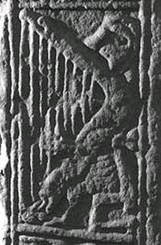 Harp - The harper on the Dupplin Cross, Scotland, circa 800 AD