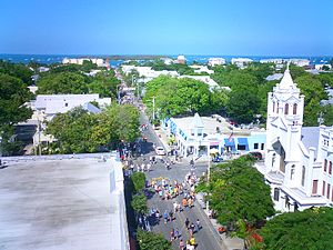 Aerial View Of Duval St With A Toward The Gulf Mexico Taken From Atop La Concha Hotel During Day Fantasy Fest Parade 2004