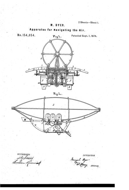 Dyer Airship 1874 Patent Drawing Page 1 Dyer Airship Patent Drawing Page 1.png