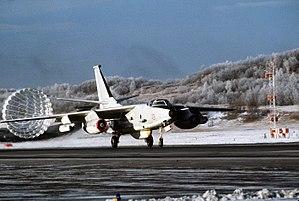 VAQ-34 - VAQ-34 ERA-3B lands during the U.S. 3rd Fleet North Pacific Exercise at Elmendorf Air Force Base, Alaska, on 8 November 1987