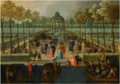 ELEGANTLY-DRESSED FIGURES PROMENADING IN A GARDEN AND RIDING IN GONDOLAS, SERENADED BY MUSICIANS.png