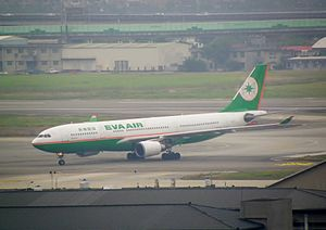 EVA A330 in Songshan Airport Apron 20120101.JPG