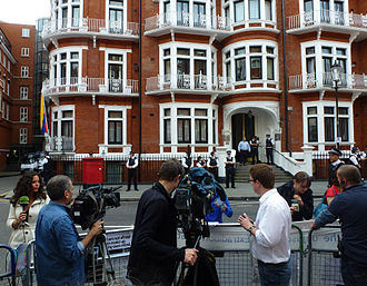Embassy of Ecuador, London - Press outside the embassy in August 2012