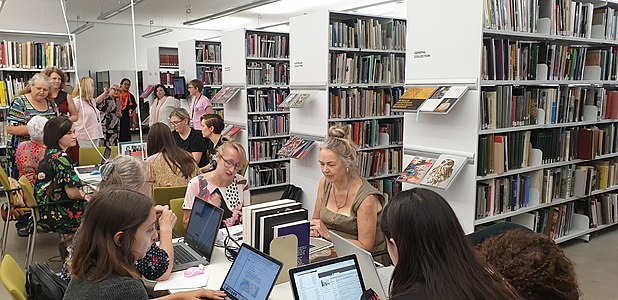 Editors working on Wiki articles of female artists at the QAGOMA IWD 2020 Edit-a-thon in Brisbane.jpg