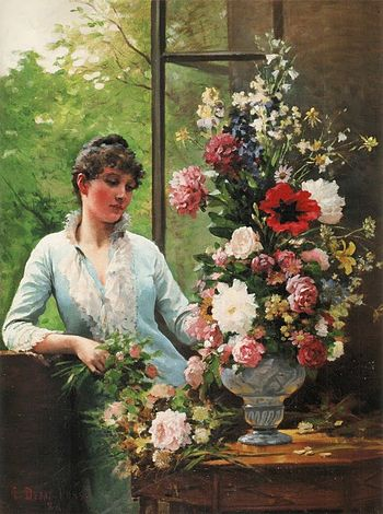 Preparing the flower arrangement