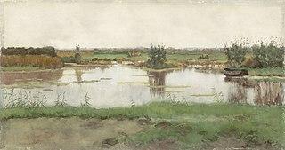 Een waterplas in een weiland