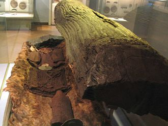 Egtved Girl - Treetrunk coffin of the Egtved Girl at the National Museum of Denmark.