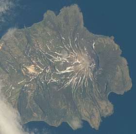 Вулкан Экарма. Снимок с МКС