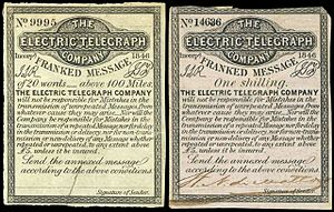 Electric Telegraph Company - 1854 stamps of the Electric Telegraph Company.