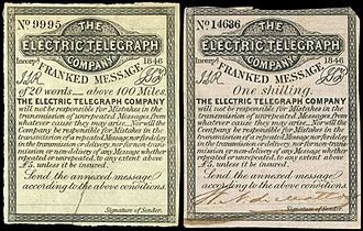 Electric Telegraph Company - 1854 stamps of the Electric Telegraph Company