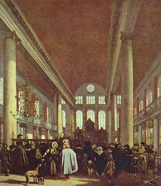 Portuguese Synagogue (Amsterdam) - Painting of the interior of the Esnoga by Emanuel de Witte (c. 1680)