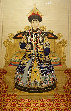 Empress Dowager Chongqing at the Age of Sixty, probably by Giuseppe Castiglione and court painters in Beijing, China, Qianlong period, c. 1751 AD, ink and color on silk - Peabody Essex Museum - DSC07995.jpg