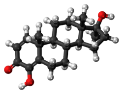 Ball-and-stick model of the enestebol molecule