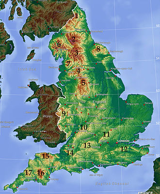 Mountains and hills of England - Topographic map of England, with major upland areas numbered: 1: Cheviot Hills; 2–7: Pennines (2: North Pennines; 3: Yorkshire Dales; 4: South Pennines; 5: Peak District; 7: Forest of Bowland); 6: Lake District; 8: North York Moors; 9: Shropshire Hills; 10: Cotswolds; 11: Chiltern Hills; 12: North Downs; 13: North Wessex Downs; 14: Mendip Hills; 15: Exmoor; 16: Dartmoor; 17: Bodmin Moor