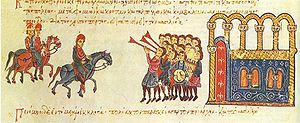 Phokas (Byzantine family) - Entry of Nikephoros Phokas (r. 963-969) into Constantinople as emperor, from the Madrid Skylitzes.