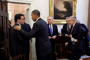 Eric Cantor - Cantor and other House and Senate leaders meeting with President Barack Obama in November 2010.