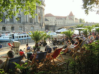Berlin is one of the world's most livable cities. Erster Spreestrand.JPG