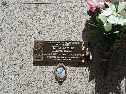 James's tomb at Inglewood Park Cemetery Etta James at Inglewood Park Cemetery.jpg