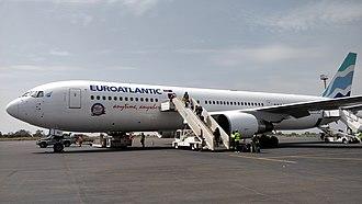 EuroAtlantic Airways - euroAtlantic 767-300ER with the new corporate livery at Bissau Oswaldo Vieira International Airport