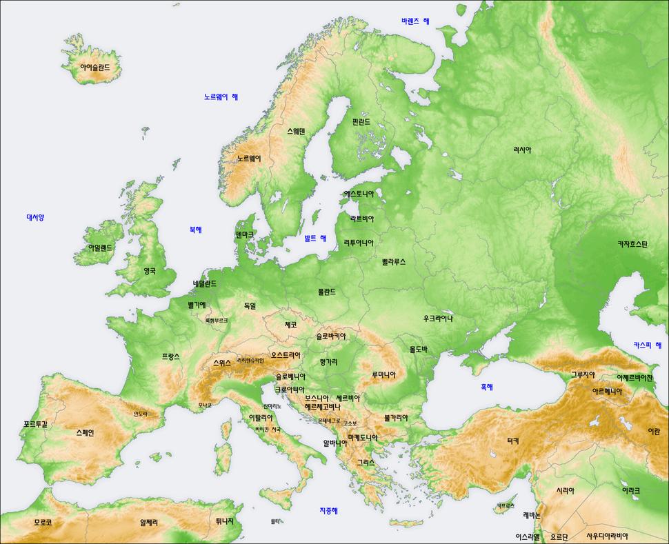 Europe topography map ko