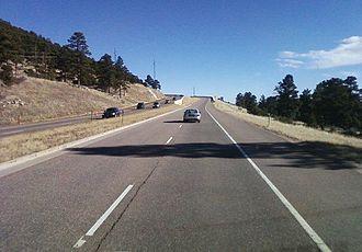 Colorado State Highway 74 - SH 74 heading westward north of Bergen Park