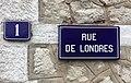 """Exemple de numérotation, plaque bleue, pour la partie """"mer"""" à l'ouest du Boulevard Daloz au Touquet-Paris-Plage.jpg"""