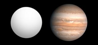 Kepler-9b - Size comparison of Kepler-9b (left) with Jupiter (right)