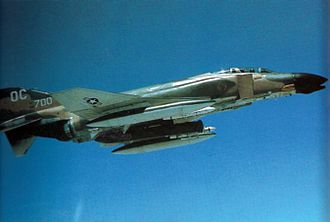 13th Fighter Squadron - A 13th TFS F-4D over Vietnam in 1971, carrying a Pave Sword laser pod.