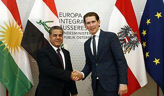 Falah Mustafa Bakir - Bakir and Austrian Foreign Minister Sebastian Kurz in June 2015.