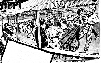 Roller rink - Illustration by journalist Marguerite Martyn of a roller rink on an Illinois River boat, out of Peoria, published August 19, 1906, in the St. Louis Post-Dispatch