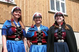 Faroe Islanders - Three Faroese women wearing traditional costumes. The student caps identify them as newly graduated.