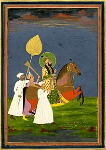 Colourful painting of Farrukhsiyar on horseback, surrounded by three attendants on foot