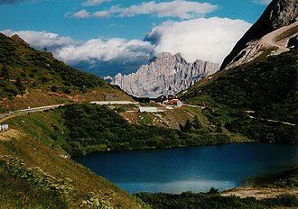 Passo Fedaia - Passo Fedaia with Monte Civetta in the background.