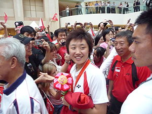 Feng Tianwei - Feng at a ceremony on 25 August 2008 welcoming Team Singapore home from the 2008 Summer Olympics in Beijing