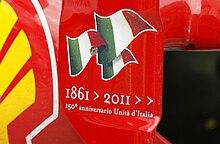 L'omaggio della monoposto al 150º anniversario dell'Unità d'Italia, con il logo delle celebrazioni apposto sulla livrea, e l'ala posteriore dipinta con i colori della bandiera italiana.