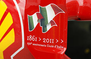 2011 Malaysian Grand Prix - Ferrari were celebrating the 150th anniversary of the unification of Italy