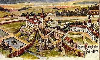 Attnang-Puchheim - Historic view of the Stronghold Puchheim in the year 1674