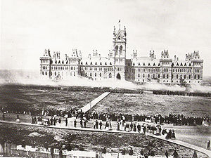 Parliament Hill - Troops deliver a feu de joie on Parliament Hill for the Queen's Birthday Review in 1868