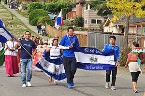 Salvadoran Americans - Salvadorans participating in the Fiestas Patrias Parade, South Park, Seattle, Washington