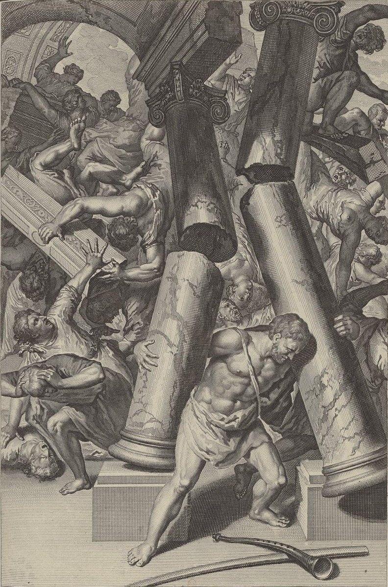 Samson meurt en faisant mourir ses ennemis (illustration des Figures de la Bible)