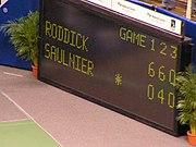 Setsiffror i en match mellan Andy Roddick och Cyril Saulnier