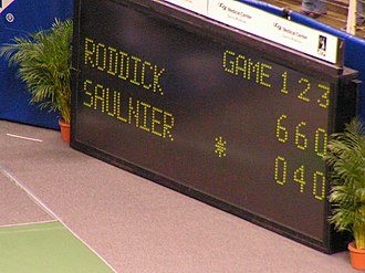 Tennis scoring system - The Mens Final score for the 2005 singles taken place in San Jose at the SAP Open. The winner was Andy Roddick and the finalist was Cyril Saulnier